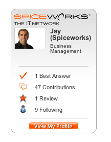 Jay Hallberg's Spiceworks Website Badge